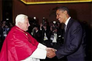 Barack Obama con el papa Benedicto XVI.