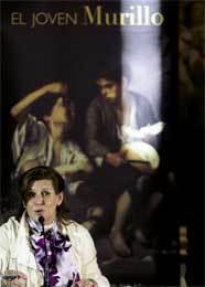 La consejera andaluza de Cultura, Rosa Torres, durante la presentación en Sevilla de la exposición 'El joven Murillo'