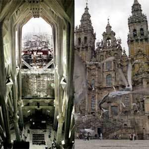 A la izquierda, la Sagrada Familia. A la derecha, la Catedral de Santiago