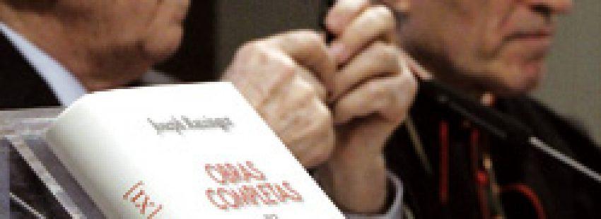 Olegario González de Cardedal y cardenal Rouco en presentación libros del Papa