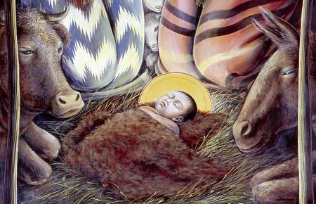 nacimiento niño Jesús en Belén con buey y mula