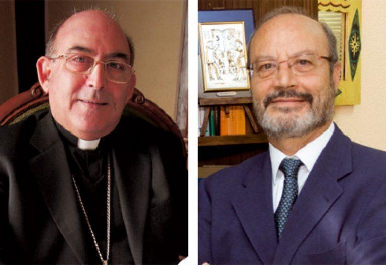 obispo Casimiro López Llorente presidente Comisión Enseñanza y José María Alvira secretario Escuelas Católicas