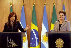 Cristina Fernández y Dilma Rousseff presidentas de Argentina y Brasil