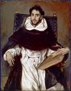 Fray Hortensio con un libro