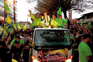acto de campaña electoral en Ecuador con el actual presidente Rafael Correa