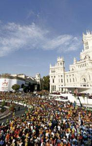 Jornada Mundial de la Juventud Madrid 2011 Cibeles llena de participantes