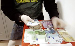 dinero incautado en operación de la Guardia Civil