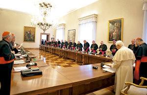 papa Benedicto XVI con los obispos irlandeses