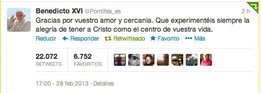 último tuit del papa Benedicto XVI