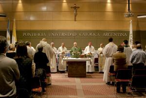 Jorge Mario Bergoglio encuentro en la Pontificia Universidad Católica de Argentina