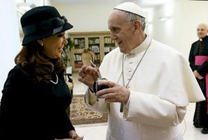 papa Francisco y Cristina Fernández de Kirchner presidenta de Argentina