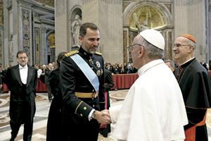 papa Francisco saluda al príncipe Felipe 19 marzo 2013