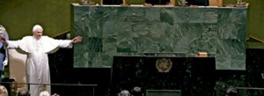 papa Benedicto XVI en la ONU abril 2008