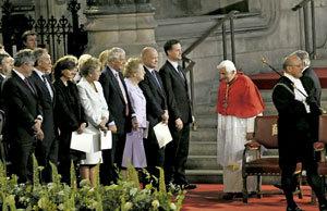 papa Benedicto XVI en el Westminster Hall de Londres