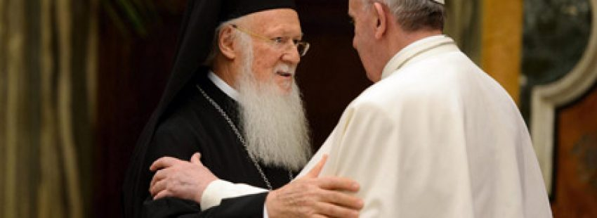 papa Francisco y Bartolomé I patriarca ecuménico de Constantinopla 20 marzo 2013