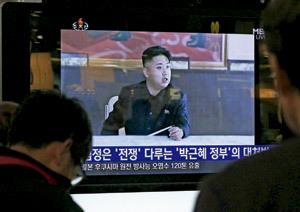 Kim Jong-Un, presidente de Corea del Norte saliendo por televisión