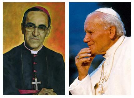 monseñor Óscar Romero, arzobispo de San Salvador asesinado, y papa Juan Pablo II