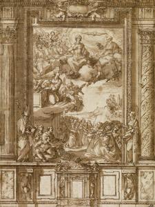 dibujo Diseño para un retablo, de Alonso Cano