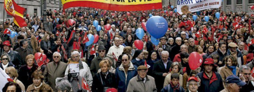 manifestación en España a favor de la vida y contra el aborto