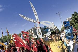 manifestación ciudadana contra los recortes de la crisis