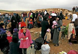 sirios huyen de la guerra como refugiados en Líbano