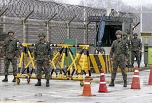 soldados de Corea del Sur desplegados en la frontera con Corea del Norte