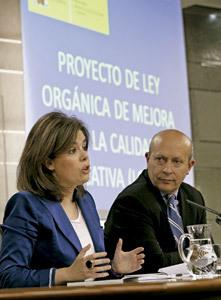 Soraya Sáenz de Santamaría y José Ignacio Wert sobre ley de educación
