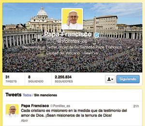 cuenta de Twitter del papa @Pontifex