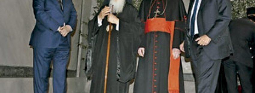 Bartolomé I, patriarca ecuménico de Constantinopla, visita al cardenal de Milán Angelo Scola en el 1700 aniversario del Edicto de Milán