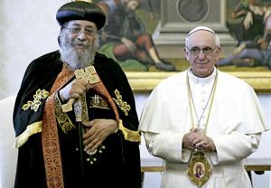 papa Francisco y Tawadros II, patriarca de Alejandría