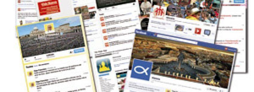 cuentas y perfiles de medios de comunicación y entidades eclesiales en redes sociales Facebook y Twitter