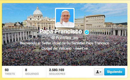 cuenta del papa Francisco en Twitter