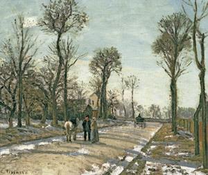 Camino de Versalles. Louveciennes. Sol de invierno, Camille Pissarro exposición en el Thyssen