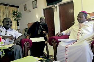 arzobispo de Bangui, Dieudonné Nzapalainga, junto a otros líderes religiosos de República Centroafricana