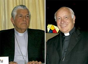 Salvador Piñeiro, obispo peruano, y Ricardo Ezzati, obispo chileno