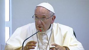 El papa Francisco, durante la conferencia a los obispos del CELAM en la JMJ de Río 2013
