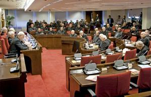 Obispos en la plenaria de abril de la Conferencia Episcopal