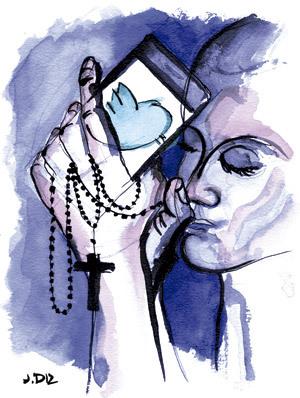 Twitter y la fe. Ilustración de Jaime Diz.