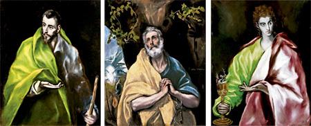 Santiago el Mayor, Las lágrimas de San Pedro y San Juan Evangelista, cuadros de El Greco