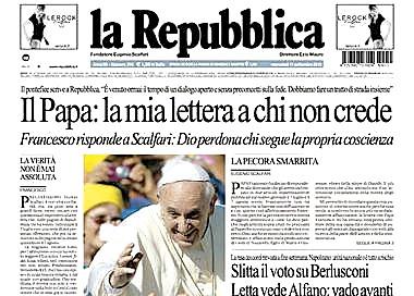 carta del papa Francisco al director de La Repubblica 11 septiembre 2013