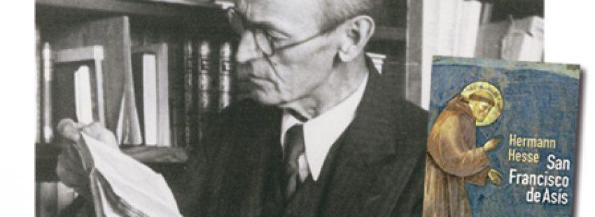 el escritor Herman Hesse en la biblioteca y su libro sobre san Francisco de Asís