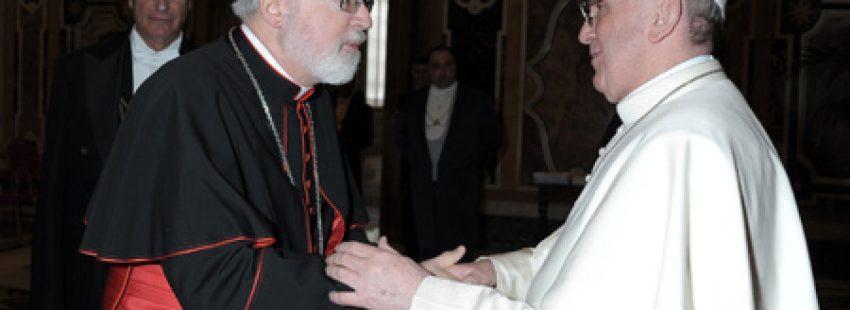 Sean OMalley, cardenal arzobispo de Boston, con el papa Francisco 9 abril 2013