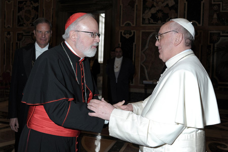 Sean OMalley, cardenal arzobispo de Boston, con el papa Francisco 9 abril 2013