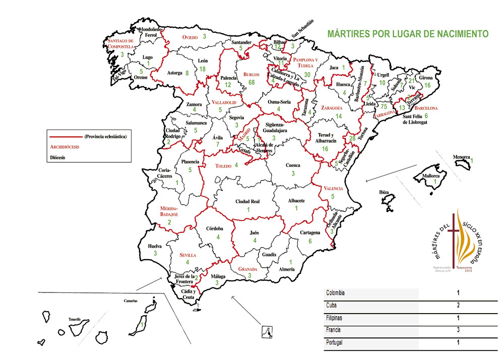 mapa por diócesis de los mártires beatificados en Tarragona 13 octubre 2013
