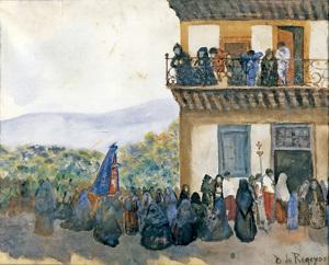 Mirando la procesión, cuadro de Darío Regoyos