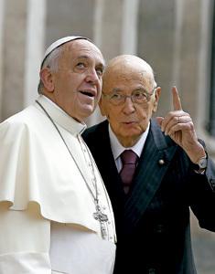 visita del papa Francisco al Giorgio Napolitano, presidente de la República de Italia, noviembre 2013