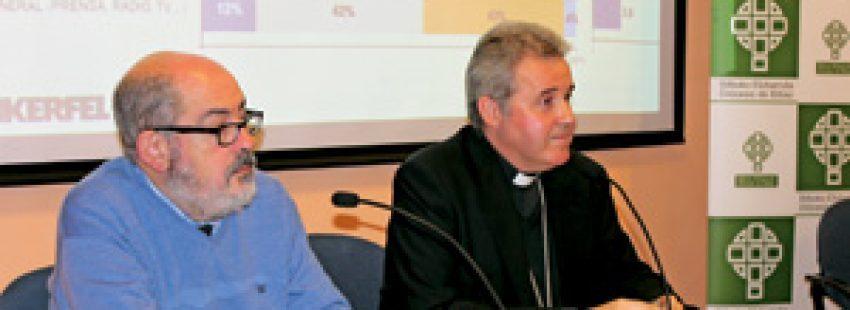 David Díez Llamas y Mario Iceta durante la presentación de la encuesta sobre la Diócesis de Bilbao