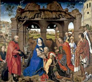 La adoración de los Reyes Magos, pintura de Van der Weyden