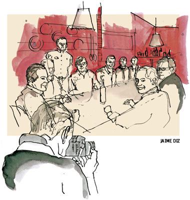 ilustración de Jaime Diz para el cuento Nochevieja en el Alabardero