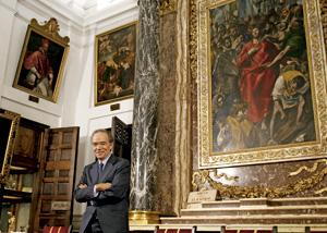 Gregorio Marañón, presidente de la Fundación El Greco 2014, junto a El Expolio